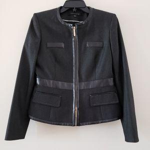 [Anne Klein] Suit Jacket Faux Leather trim